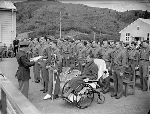 US Marines receiving decorations at the Base Hospital, Silverstream, during World War II.