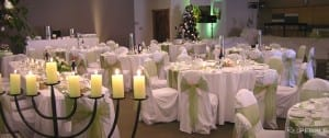 The Pillars room set up for a Christmas function